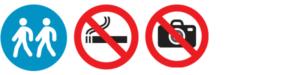 Liiku vain isäntäsi seurassa, tupakointi kielletty, valokuvaaminen kielletty.