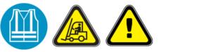 Käytä huomiovaatetusta, huomioi trukkiliikenne, ilmoita vaaratilanteista.